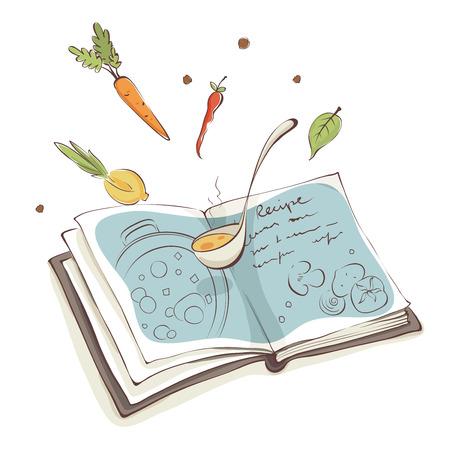 Magisch Kookboek  Vectorillustratie, recept voor soep met groenten Stock Illustratie