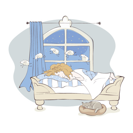 Insomnia  Girl can not fall asleep and considers sheep, vector illustration Illustration