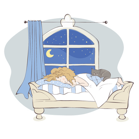 Sweet dreams  Girl sleeping with cat on the bed, vector illustration Illustration