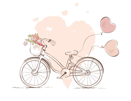 Bicycle for the bride  Vector illustration, wedding invitation, valentine card