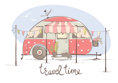 Summer travel in a house on wheels  Funny pink retro trailer, vector illustration Ilustracja