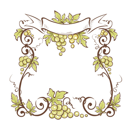 Frame from green grapes  Vector illustration, floral design element