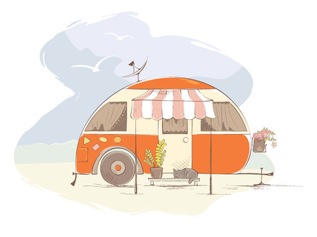 Summer travel in a house on wheels  Funny orange retro trailer on the beach, vector illustration