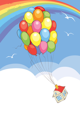 air: Travel without leaving home  Vector illustration, house flies on a bunch of balloons Illustration