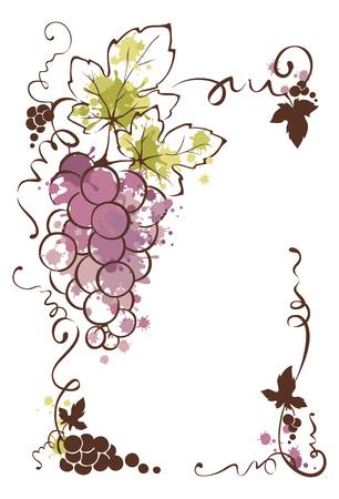 Frame from grapes -- splash watercolor  Vector illustration, floral design element