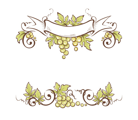 Frame from grapes  Vector illustration, floral design element Ilustração