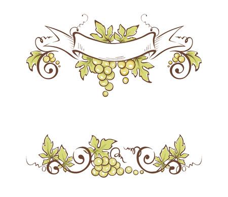 Frame from grapes  Vector illustration, floral design element Illustration