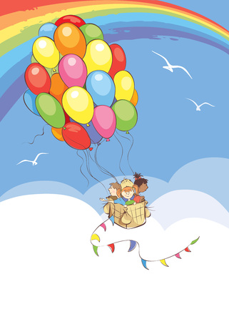 Bright travel / Vector illustration, Children travel in a Hot Air Balloon made of colored balloons flying in the sky Illustration