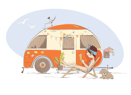 Summer vacation in a house on wheels  Young woman is lying on a deck-chair and reading a book near trailer, funny vector illustration