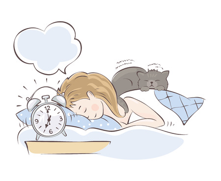 Alarm clock call in the morning / Girl sleeping with cat on the bed, vector illustration