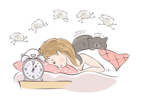 Insomnia / Girl can not fall asleep and considers sheep, vector illustration