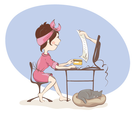 Online purchase agreement  Young woman reads inattentively a contract, funny vector illustration. Illustration