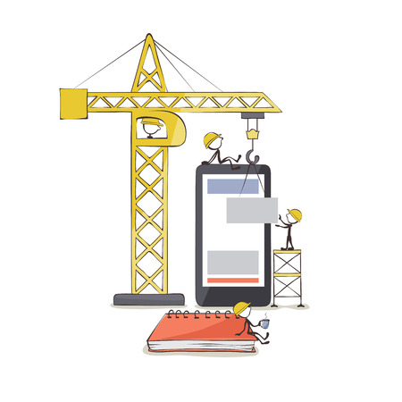 Creating a mobile application interface  Funny illustration on the them SEO and site creation