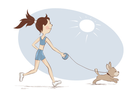 The girl on a run  Young woman is engaged in running with the dog