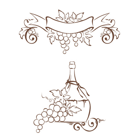winemaking: Frame from grapes and bottle  Vector illustration, floral design element