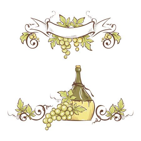 Marco de uvas y botella / ilustración vectorial, elemento de diseño floral Ilustración de vector