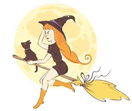 Modern witch  Red-haired girl on a broom with a black cat, vector illustration Illustration