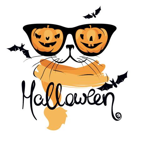 Cat with funny pumpkin glasses  Funny halloween illustration, postcard, invitation