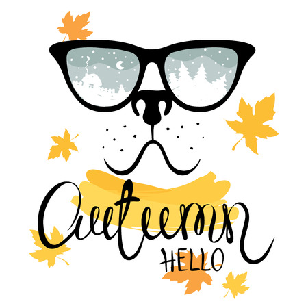 19d06b3a5fc1  87715510 - Dog with glasses Funny autumn illustration or postcard. Vector
