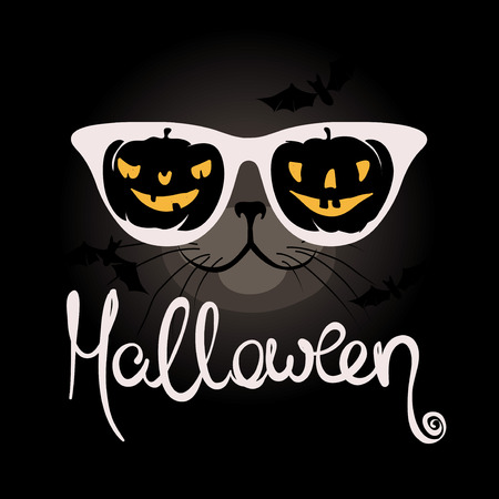 0f0a5c7db406 Cat with funny pumpkin glasses Funny halloween illustration