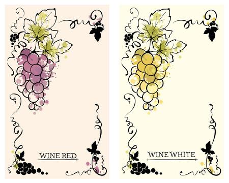 Label for red and white wine -- set / Vector illustration, floral design element, splash watercolor  イラスト・ベクター素材