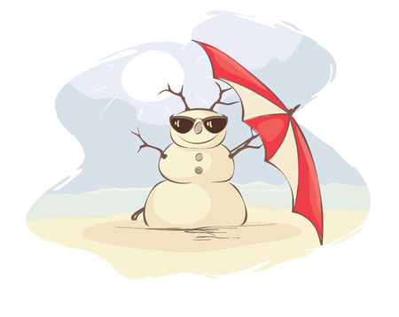 Christmas vacation on the beach  Funny vector illustration with snowman in the beach