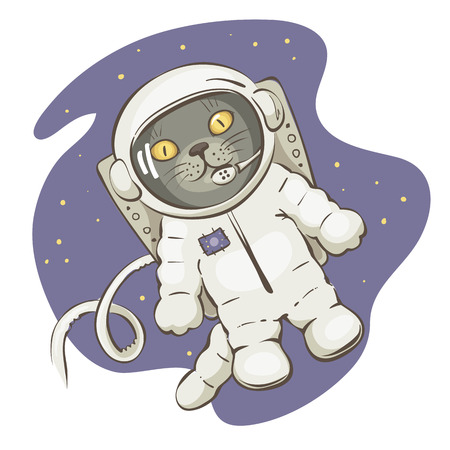 discoverer: In open space  Funny vector illustrations with grey cat in space suit