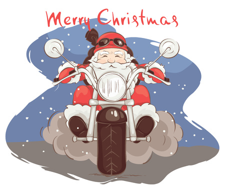 Santa biker  Vector illustration, card - Santa Claus on chopper