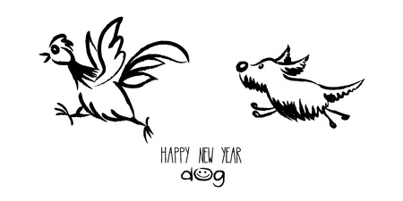 Postcard to the year of the dog  Funny vector illustration, cock runs away from the dog Illustration