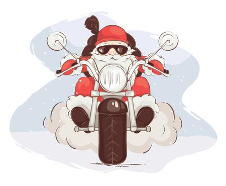 Santa biker / Vector illustration, card - Santa Claus en helicóptero Ilustración de vector