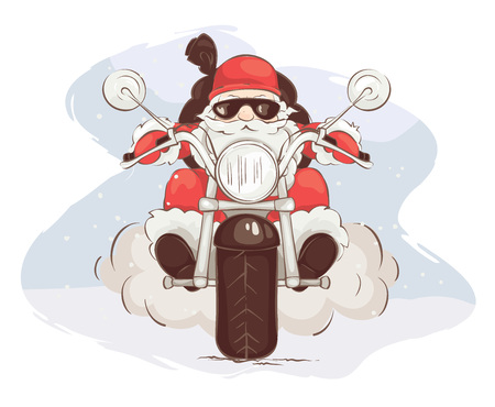 Santa biker / Vector illustration, card - Santa Claus on chopper Çizim