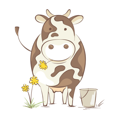 Cow with dandelion Funny vector illustration