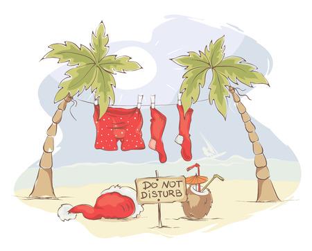 Santa Claus beach vacation Funny Christmas card vector illustration Illustration