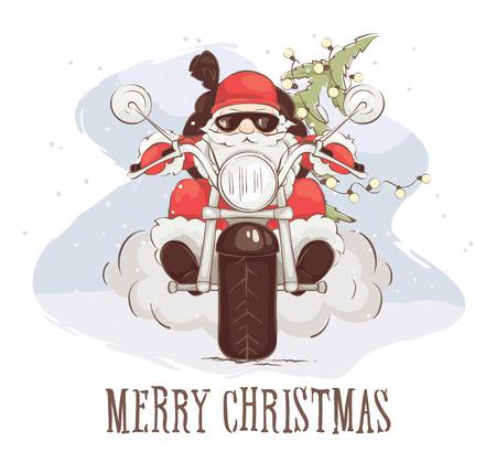 Carte de Noël - Illustration vectorielle Santa biker, père Noël sur chopper avec des cadeaux et des arbres