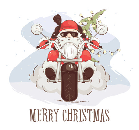 Christmas card - Santa biker Vector illustration, Santa Claus on chopper with gifts and trees Çizim