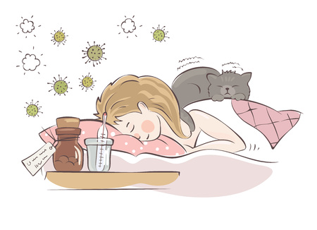 The cat heals  The girl is sick with influenza, vector illustration.