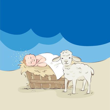 Gesù bambino e agnello / bambino dorme dorme nella mangiatoia, illustrazione vettoriale Archivio Fotografico - 91187594