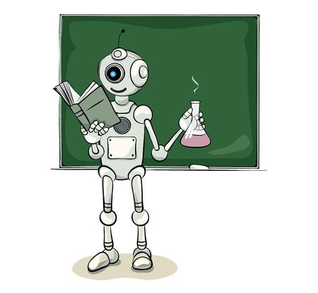 Chemistry teacher, funny robot with test tube, vector illustration
