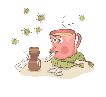 Disease  Funny mug in a scarf with a thermometer, vector illustration.