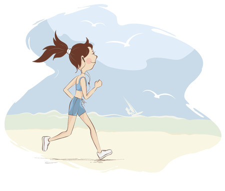 Young woman is engaged in running on the beach illustration.