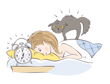 Girl wakes up sharply with kitten illustration.