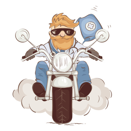 The doctor hurries to the rescue. A man on a motorcycle in the uniform of a doctor, vector illustration