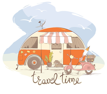 Summer travel in a house on wheels / Funny retro trailer, vector illustration