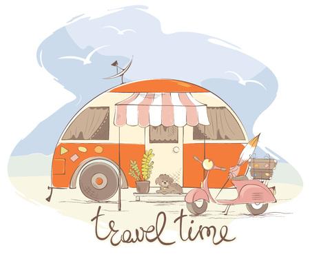 Viaggio estivo in una casa su ruote / rimorchio retrò divertente, illustrazione vettoriale