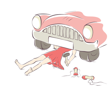 Vector illustration, postcard for women's day. Girl repairing car.