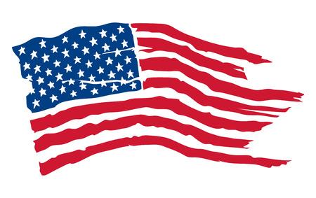 Amerikanische Flagge / Vektorillustration, schäbige flatternde Flagge der USA Standard-Bild - 95030270