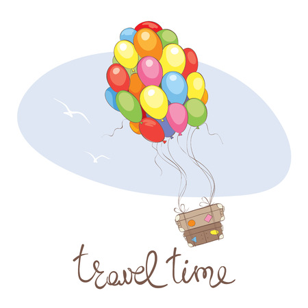 Travel time   Vector illustration, suitcases fly on balloons on vacation Illustration