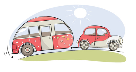Summer travel in a house on wheels / Funny pink retro car with camping ride on a trip, vector illustration 矢量图像