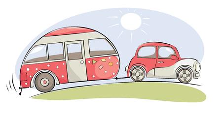 Voyage d'été dans une maison sur roues / voiture rétro rose drôle avec camping en voyage, illustration vectorielle