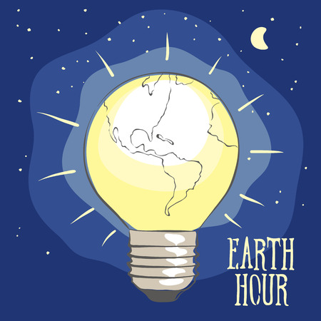 Earth hour vector illustration for banner. Planet Earth in the form of a lamp